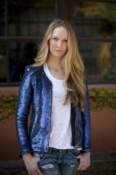 sequin jacket in ice blue