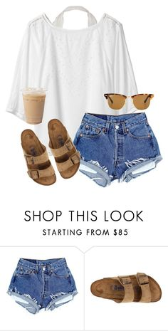 """DIY shorts are a success"" by aweaver-2 on Polyvore featuring Birkenstock and Ray-Ban"