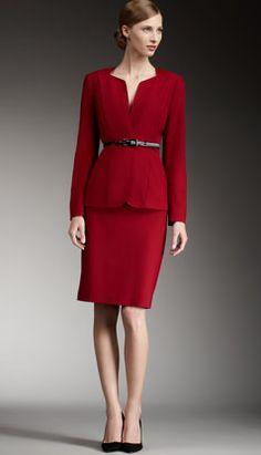 women in red suite | Suit of the Week: Albert Nipon Belted Split-Neck Skirtsuit