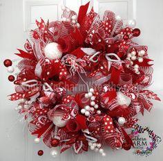 Deco Mesh CHRISTMAS Wreath Red White Poinsettias Polka Dot For Door or Wall