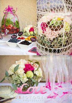 #DIY #birdcage #wedding #bridalshower #floral #flowers #infusedwater #lovesignage #hotpink #pink #bachelorette #craftsbycynabon #mimosabar #bar @nysnow @ericanoelle16