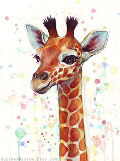 Baby Giraffe Watercolor Art Print, Nursery Art, Baby Animal, Kids Decor met andere materialen .....