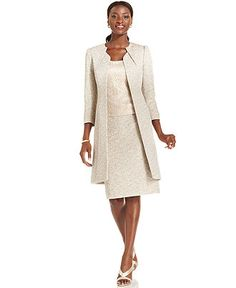Rehearsal?  Tahari by ASL Suit, Metallic Tweed Long Jacket, Lace Shell & Skirt - Womens Suits & Suit Separates - Macy's