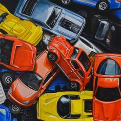 """Daily Paintworks - """"Matchbox Cars with Beetle"""" - Original Fine Art for Sale - © Kim Testone Still Life Artists, Hyper Realistic Paintings, Still Life Drawing, Matchbox Cars, A Level Art, Realism Art, Painting Lessons, Retro Toys, Art Challenge"""