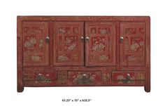 Chinese Red Lacquer Butterfly & Flower Four Season Buffet Table / Cabinet - Golden Lotus Antiques