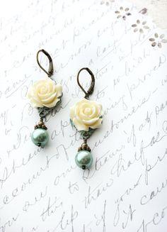 Cream Rose Earrings Aqua Blue Pearl Drops by apocketofposies