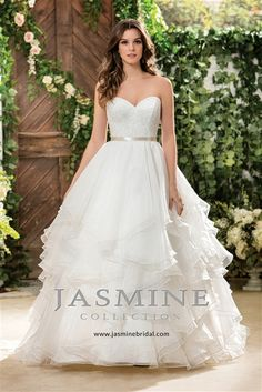 Soft & Flowy #Wedding Dress! Romantic Lace & Organza Over Satin Ball Gown with a Strapless Sweetheart Neckline, Venice Lace Fitted Bodice with a Satin Band at Natural Waist, Organza Layered Ruffle Ball Gown Skirt, Chapel Train, Back Covered Buttons Over Hidden Zipper. #layered #strapess #weddingdress #lace #pretty #romantic #weddingdresses #2016weddingdresses #summer #wedding #fashion #dress #bride #beautiful