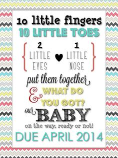 Typography Pregnancy Announcement via THE LifeStyled COMPANY! Instant Download via Etsy $5!