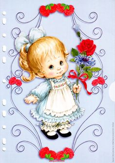 A girl in a blue dress Postcard by Ruth Morehead Cute Images, Cute Pictures, Animal Pictures, Bing Images, Adorable Petite Fille, Creation Photo, Holly Hobbie, Jolie Photo, Precious Moments
