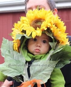 Easiest-Ever and Most-Adorable Homemade Baby Sunflower Costume... Enter the Coolest Halloween Costume Contest at http://ideas.coolest-homemade-costumes.com/submit/