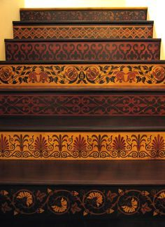 Forget that runner! Stenciled Stairway in Royal Design Studio. Link has info on tutorial manual!