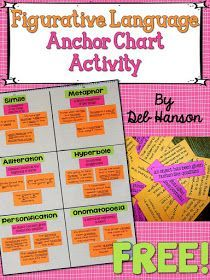 This figurative language anchor chart includes a cooperative activity. Visit this post to download the FREE materials and replicate this interactive lesson in your upper elementary classroom!