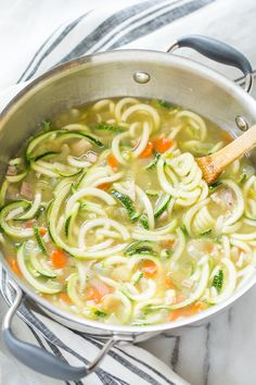 Pin for Later: 20 Comforting Veggie Noodle Recipes That Won't Leave You Hungry Homemade Chicken Zucchini Noodle Soup Get the recipe: homemade chicken zucchini noodle soup