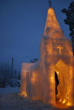Ice buildings - church in Aurskog, Norway