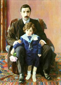 Portrait Of Armand Frantzevich Aziber With His Sons by Pavel Filonov