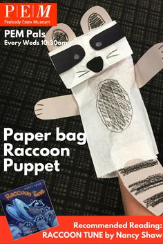 PEM Pals - 9/14/2016 Paper Bag Raccoon Puppets -- click through for instructions.