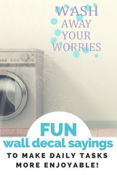 FUN bathroom and laundry room decor made easy with vinyl wall decal stickers! Choose the size and color to compliment your space.