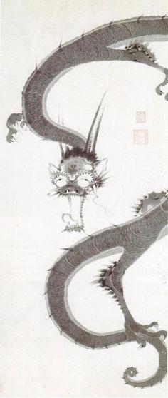 伊藤若冲(Ito Jakuchu)「雨龍図(Rain Dragon)」(1760年代前半)