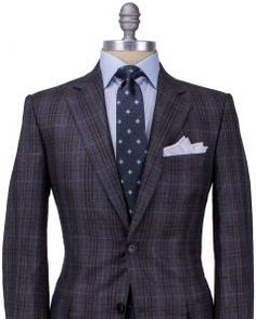 Image of Belvest Brown Plaid with Blue Windowpane Suit
