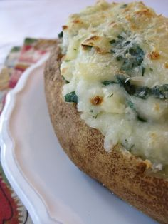 Twice Baked Spinach Potatoes...so good!  Take a little time to make, but they are great to make ahead and freeze.  Can be eaten as a main dish for a cheap meal or go great as a side too.