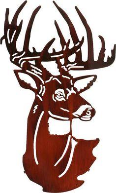 Fall Buck Head Laser Cut Metal Wall Art