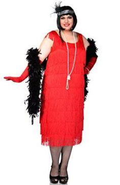 Red Jazzy Flapper Fringe Costume 1920s 20s Charleston Ladies Fancy Dress Wig Boa