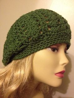 Slouchy Beanie, Green,  Beret , slouch hat on Etsy, $22.00