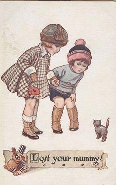 Vintage postcard - Illustration by Nina K. Brisley