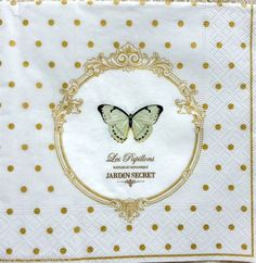 4-x-Vintage-Table-PAPER-NAPKINS-CRAFT-BUTTERFLY-DECOUPAGE-TEA-PARTY