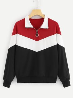 To find out about the Color-Block Quarter Zip Sweatshirt at SHEIN, part of our latest Sweatshirts ready to shop online today! Cute Sweatshirts, Sweatshirts Online, Hoodies, Grey Sweatshirt, Crew Neck Sweatshirt, Sweatshirt Outfit, Sweaters And Jeans, Sweater Weather, Trendy Outfits