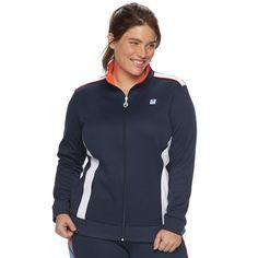 Plus Size FILA Sport® Colorblock Track Jacket, Blue (Navy)