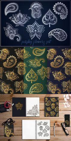 Paisley flowers & leaf Indian set. Patterns. $7.00