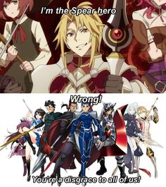Motoyasu: The disgrace to the many spear wielders in anime Cute Comics, Funny Comics, Anime One, Anime Guys, Funny Images, Funny Pictures, The Ancient Magus, Anime Fantasy, Funny Cute
