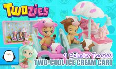 Twozies Ice Cream Cart Playsets 4 EXCLUSIVE Babies and Pets with Shopkins Shoppies Doll Peppa Mint by Sparkle Spice.  Subscribe here to never miss a video: https://www.youtube.com/channel/UCsRW8ikkc-uISUXtNKBfFcw?sub_confirmation=1  - Watch my last video: https://www.youtube.com/watch?v=rDWY8PpvQxw  The Twozies Two-School Ice Cream Cart playset comes with 4 exclusive babies and pets that can only be found in this playset and are needed to complete the collection. Their names are Bessie and…
