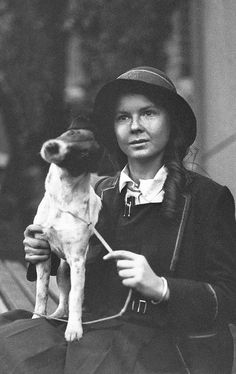 +~+~Vintage Photograph~+~+  School girl and her adorable dog.  1930 Smooth Fox Terriers, Rat Terriers, Cute Dog Photos, Dog Pictures, I Love Dogs, Cute Dogs, Vintage Dog, Vintage Ladies, Old Dogs