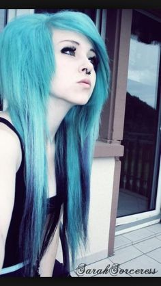 Emo/scene hairstyles | Love it | Love that blue