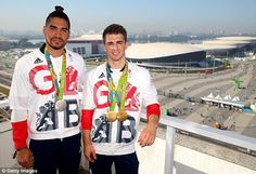 Friends and rivals:  Max Whitlock, right, and Louis Smith, left, pose for…