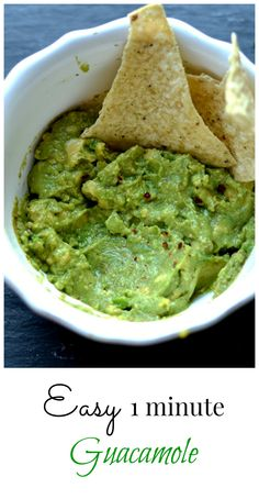 Simple, 4 ingredient, 1-minute guacamole. Perfect dip, spread for toast or sandwiches: so many possibilities! www.wholesomelicious.com
