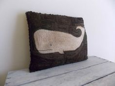 themarymaker on ebay ~beautiful~ needle punch moby dick white whale cushion