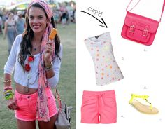 Festival outfit summer 2013 - fluorescent clothing (neon), shorts, trendy rain boots, flowers in hair, supermanlook