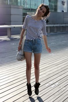 Two of my loves: high waisted shorts and black & white stripes.  Perfection.