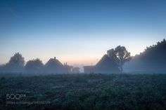 House in Latvian countryside at foggy evening by aivita