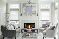 Lavender Luxe Living Room  Living  Transitional by Karen B Wolf Interiors (=)
