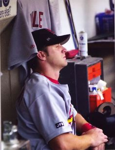 This picture breaks my heart. Matheny with Kile's jersey. From Cardinals Game Day magazine.
