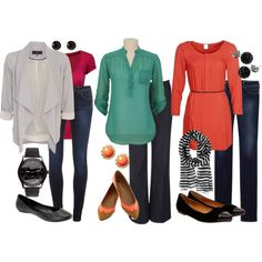 """Teacher Outfits on a Teacher's Budget Casual Fridays"" - I like these colors, easy to do with jeans Fall Outfits, Casual Outfits, Cute Outfits, Fashion Outfits, Work Outfits, Casual Wear, Teacher Wardrobe, Work Wardrobe, Classic Wardrobe"