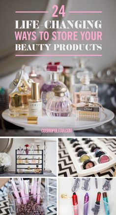 BEAUTY STORAGE HACKS: Here are 24 unconventional ways to organize your beauty products using things you probably already own. Who knew you could use a mini loaf pan, wine racks, and ice trays to store beauty products? Find the best storage and beauty ideas here!