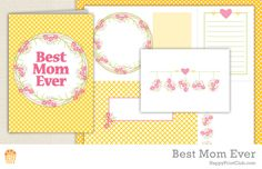 HPC Printable Best Mom Ever // Printables for Best Mom Ever includes greeting card, notecards, journaling cards and patterned paper - PDF files to download and print