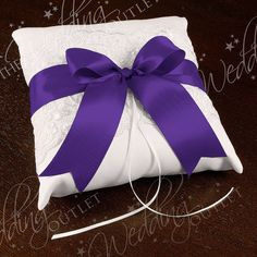 Chantilly Lace Custom Ring Bearer Pillow {White with Purple Ribbon}