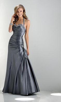 Long Halter Prom Dresses, Grey Dresses for Prom 2012- PromGirl