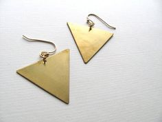 Geometric triangle earrings oversized 14k by MySoCalledVintage, $17.00